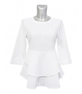 transparent white cotton (3/4-sleeve) eyelet lace blouse with gored peplum (zipper back)