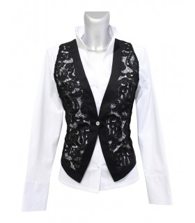 Lace vest in black with jeweled button (without blouse)