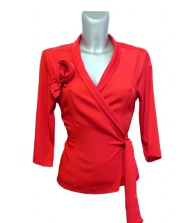 light fabric polyester wrap blouse in red with flower application and 3/4-sleeves