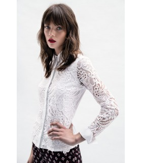 white blouse with lace overlay and hidden button line