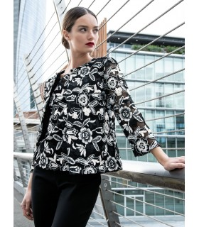 fancy A-line blouse in black with overlay and flower embroidery in white (without top)