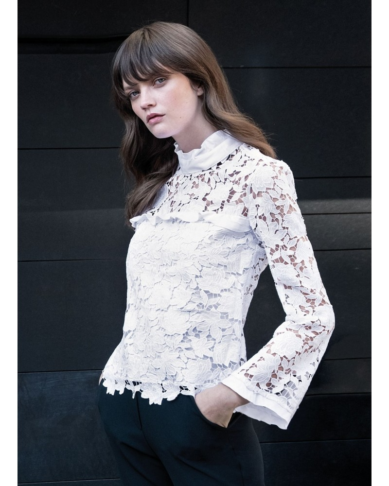 blouse in white with fancy lace overlay and stand up collar