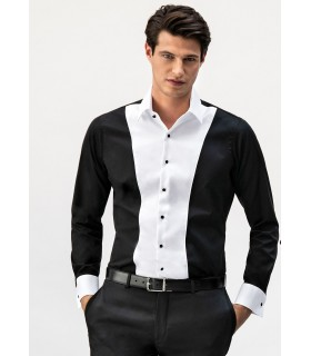 non iron shirt in black with contrast in white