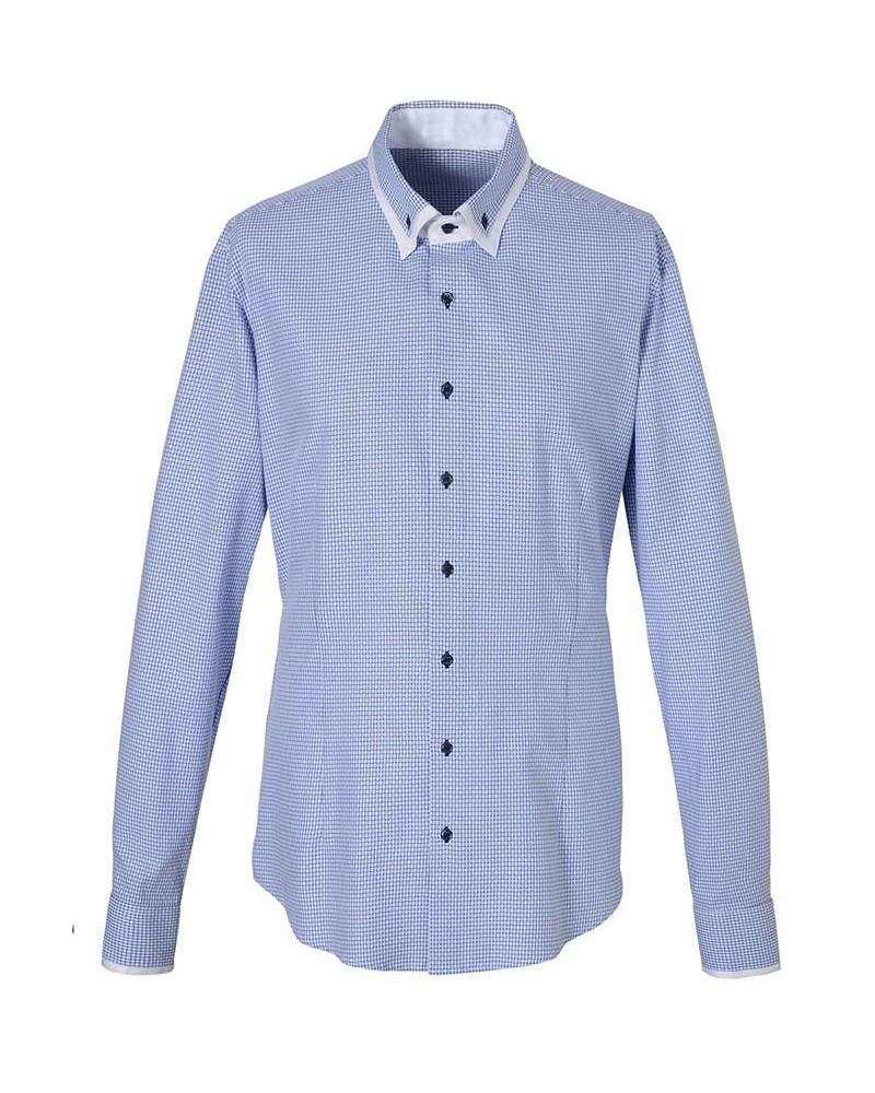 cotton shirt in white/blue with square pattern/star pattern