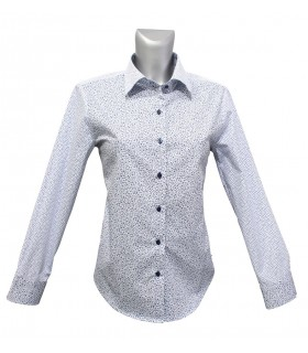 loose-fitting cotton blouse in white with trendril pattern in blue