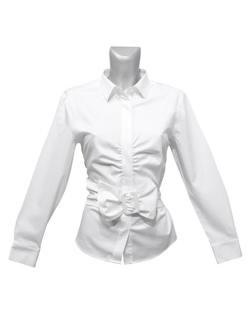 cotton blouse in white with fixed belt band and hidden button line