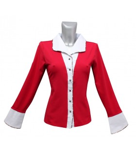 red cotton blouse (jersey) with contrast in white and long cuffs