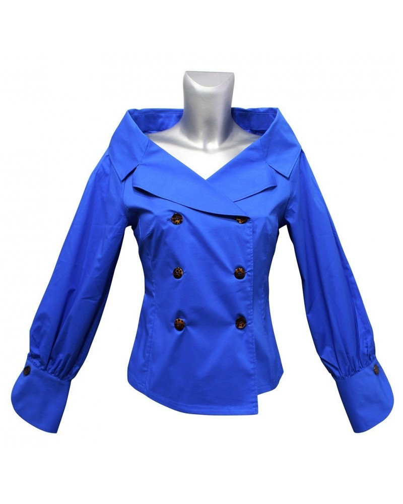 blouse in blue with double button bar
