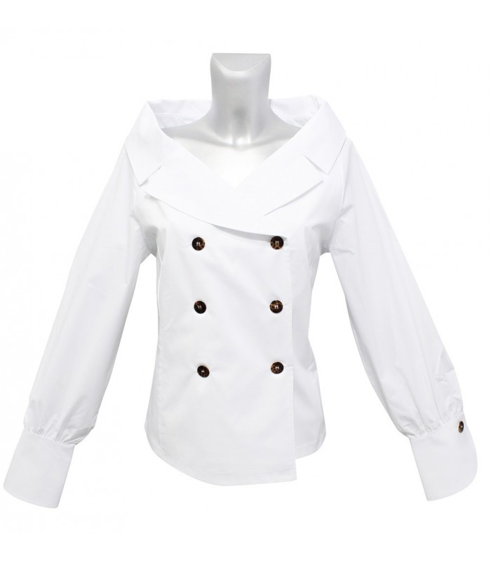 blouse in white with double button bar