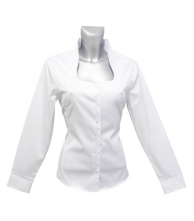 non iron blouse in white with standing up collar