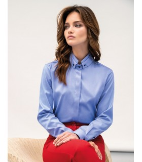 loose-fitting blouse (non iron) in light blue with hidden button line