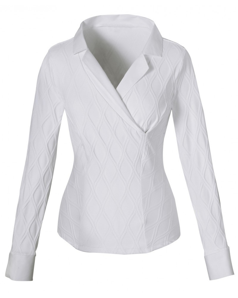 blouse (stretch) in white with pattern and double collar