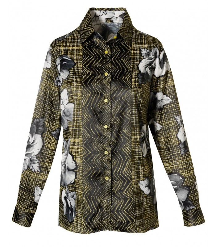 blouse with printed pattern in yellow / black and floral motif