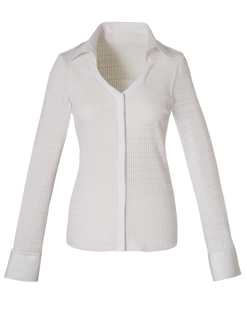 slightly transparent blouse (stretch) in white with stripe pattern and hidden button line