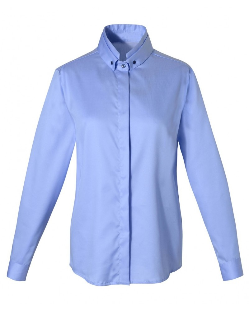 loose-fitting blouse (non iron) in light blue with hidden button line and stand up collar