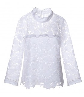 overhead blouse in white with fancy lace overlay and stand up collar (transparent on the back)