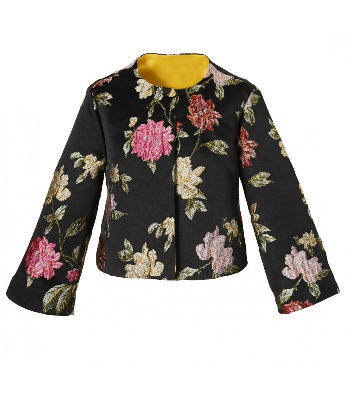 short cut u. wide-necked blouse (A-line) in black with colorful embroidery (1 button up)