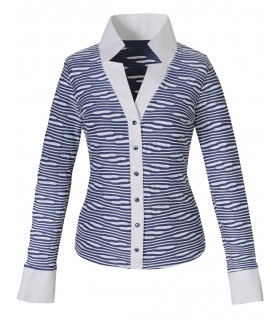 blouse (stretch) in white with blue pattern and double collar