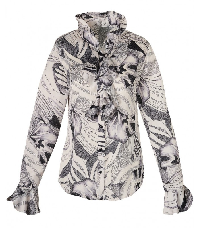 polyester blouse in light beige with chabot and graphic print in black