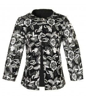 fancy A-line blouse (3/4-sleeve) in black with overlay and flower embroidery in white (without top)