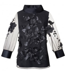 fancy A-line blouse (3/4-sleeve) in black with sewn flowers and petals (overhead blouse)