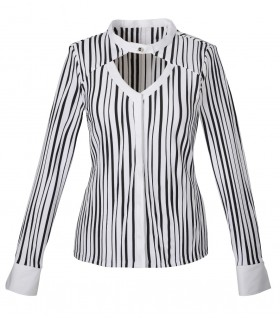 blouse (stretch) in white with black stripse and hidden button line
