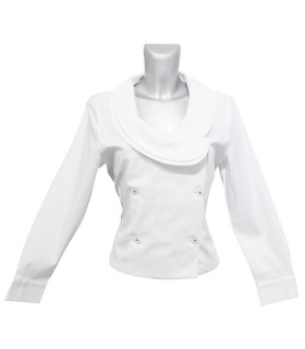 short cut blouse in white with double button bar (each 3 buttons) and fancy collar