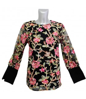 fancy A-line blouse in black with sewn flowers overlay (overhead blouse)