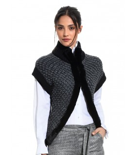 knit vest in dark gray and black