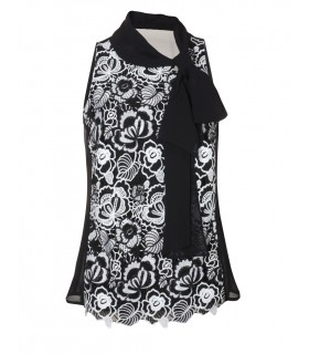 fancy top in black with overlay, flower embroidery in white and loop collar (without jacket)