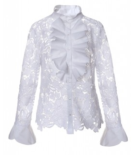 White lace blouse with full jabot and stand up collar