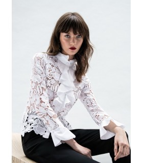 White lace blouse with full jabot