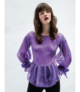 Silk organza blouse in violet with bows on the sleeves