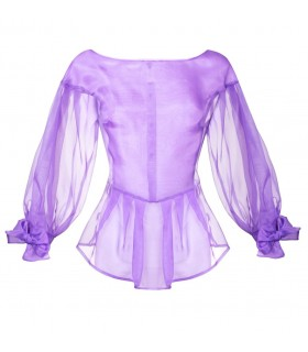 Silk organza blouse in violet with bows on the sleeves and back button bar