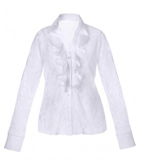 White transparent lace blouse (stretch) with jabot