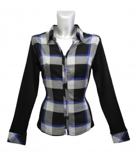 blouse with square pattern in black/blue/gray and zipper, side and sleeves stretch