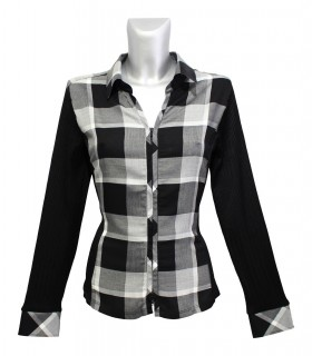 blouse with square pattern in black/white/gray and zipper, side and sleeves stretch