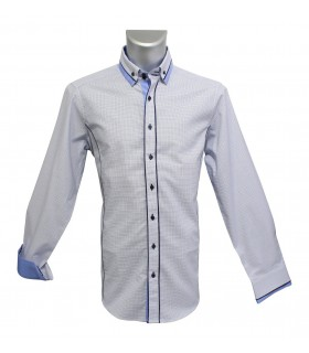 cotton shirt in white with pattern in blue/light blue