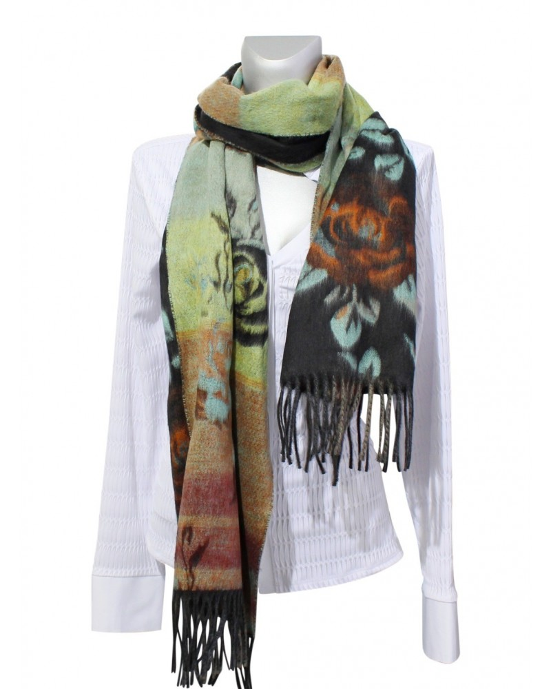Different colored winter scarf with rose pattern (length approx. 200 cm, width approx. 40 cm) - without blouse