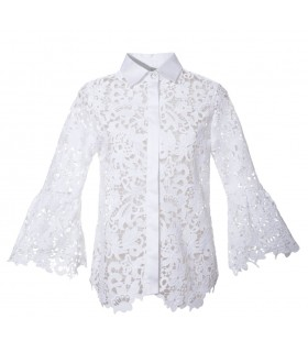 White lace blouse with trumpet sleeves,  hidden button bar and SWAROVSKI button