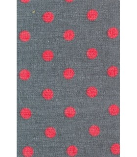 gray blouse with small red polka dots, jabot and loop tape (removable)