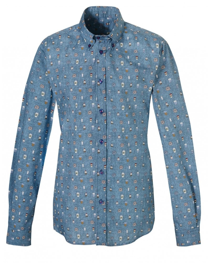 cotton shirt in jeansblue with print pattern