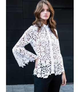 White lace blouse with trumpet sleeves and hidden button bar