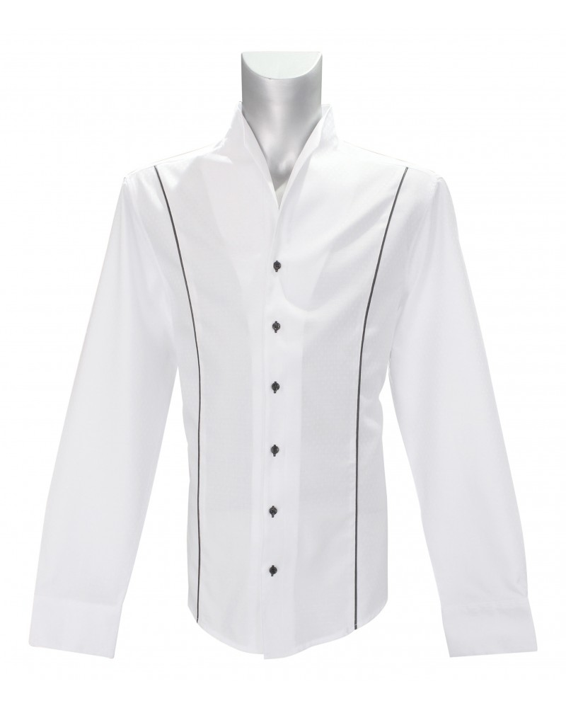 standing collar shirt in white with pattern and stripes in black