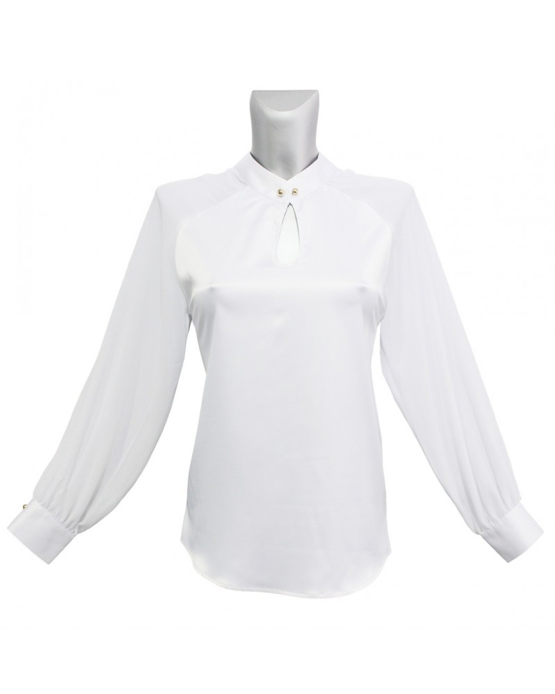 white flowing overhead blouse in shiny fabric, teardrop opening and band collar