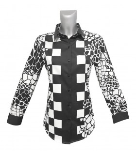 loose-fitting cotton blouse with print pattern in black/white