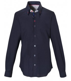 cotton shirt in dark blue with double collar and fine dot pattern in white