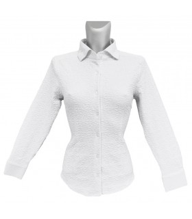 stretch blouse in white with pattern