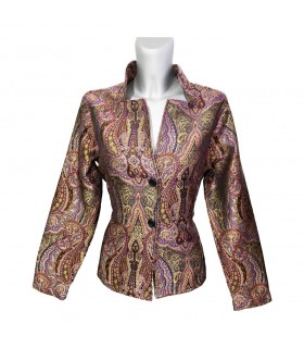 stand-up collar blouse with different colored patterns