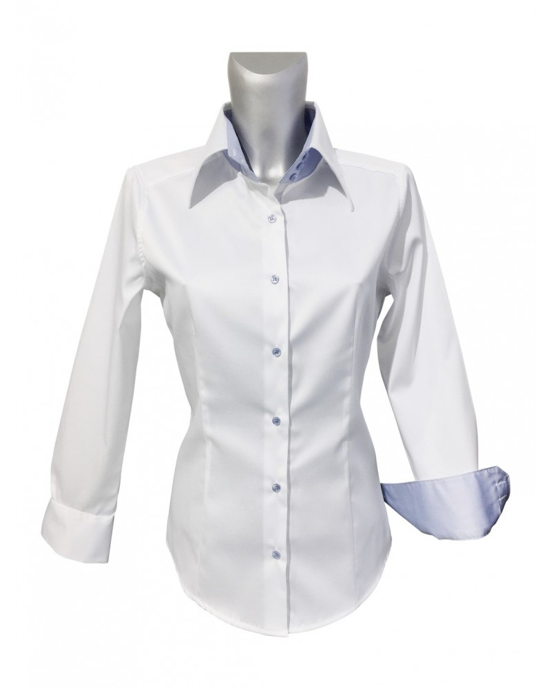 non iron blouse in white with contrast in light blue and 3-buttons on collar and cuffs